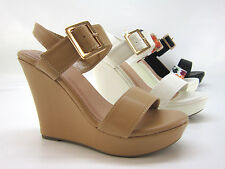 NEW Womens Fashion Shoes Sandals Wedge High Heel Platform Open Toe Pump Strappy