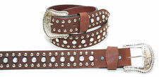 KX Brands Rhinestone & Stud Brown Leather Belt XM-7739BR *CLOSEOUT*