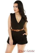 Women Sexy Jumpsuits Stylish V Neck Ruched Cross Short Skirt Rompers W/Waistbelt