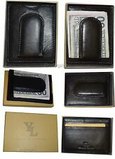 Leather Money Clip Credit card/ID holder, wallet with magnetic money clip In Box