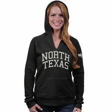 North Texas Mean Green Women's Black Chain V-Notch Hoodie