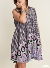 PLUS SLEEVELESS SWING MINI DRESS SHIRT TUNIC TOP BLACK PINK PAISLEY PRINT