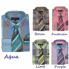 New Quality Mens Multi-color Check Design Dress Shirt w/ Matching Tie&Hanky A627