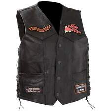 NWT Ladies Womens Black Leather Motorcycle Rose Bike Vest M L XL 2X 3X 4X GIFT