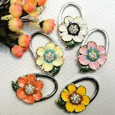 Daisy Flower Rhinestone Folding Travel Handbag Purse Hanger Table Hook Holder