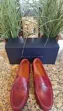 RALPH LAUREN Eltham Red Smooth Oiled Leather Penny Loafers Shoes