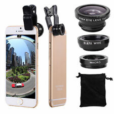Universal 3 in1 Fish Eye+ Wide Angle + Macro Camera Clip-on Lens for iPhone