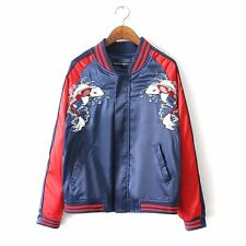Couple Lovers Women Men Satin Fish Embroidery Baseball Bomber Jacket Coat S-XXL
