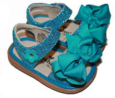 MOOSHU Trainers Squeeker Shoes NEW Teal Sparkle Sandal Add A Bow Sz 3-9