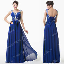 Chiffon Beaded Blue Bridesmaid Formal Evening Long Prom Dress Cocktail Ball Gown