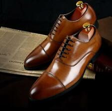 Vintage England Formal Gents' Genuine Leather Lace Up Oxford Pointed Derby Shoes