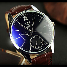 Newest Stainless Steel Leather Men's Casual Sport Analog Quartz Wrist Watch TGS