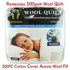 Luxury Wool Quilt / Doona 500gsm Genuine Aussie Wool Filled + 100% Cotton Cover