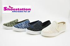 Womens Fashion Shoe Sneaker Slip On Skater Trainer Round Toe Flat Comfort Trendy
