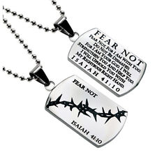 Christian Dog Tag Isaiah 41:10 FEAR NOT, Stainless Steel Crown of Thorns Bead