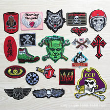 ROUTE 66 SKULL Frankenstein pirates embroidered patch iron/sew on Cloth badge