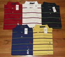 NWT Mens Polo Ralph Lauren Medium Fit Interlock Polo Shirt Pony Logo Striped *N8