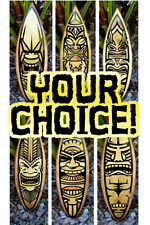 Tiki Surfboard Wood Surfboard Choose your own Wall Art Home Decor Beach Tropical
