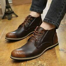 Vintage Mens casual Genuine leather retro brogue ankle boot lace up chukka shoes