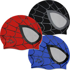 3 Colors Spiderman Swim Cap Blue Black Red Silicone Comfortable Swimming Cap