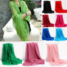 Women Large Long Thin Silk Scarf Muslim Hijab Cape Wrap Shawl Summer Sunscreen