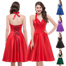 Womens 1950's Halter Neck Retro Vintage Red Summer Satin Prom Party Swing Dress