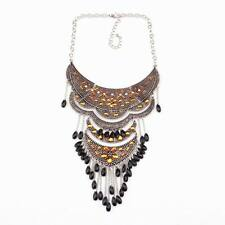 pendants chain crystal bead big alloy vintage chunky statement women necklace