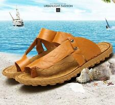 Stylish Beach men's comfort massage Strappy Casual leather flip-flops Slippers