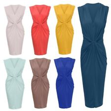 Womens Ladies Sleeveless Rouched Knot Waiste Bodycon Midi Party Dress Size 8-14