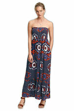 NEW x Next Ladies Navy Red Ethnic Floral Print Strapless Bandeau Maxi Dress 8-18