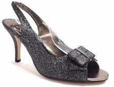 WOMEN SLINGBACKS FINE GLITTER PEWTER WITH BOW MED HEELS EVENING WEDDING SHOES