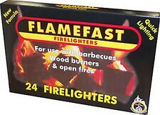FLAMEFAST FIRELIGHTERS 24 PACK FOR USE WITH OPEN FIRES BARBECUES & WOOD BURNERS