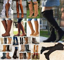 Ladies Womens Sexy Over Knee High Heel Stiletto Lace Up Thigh High Zip Boots