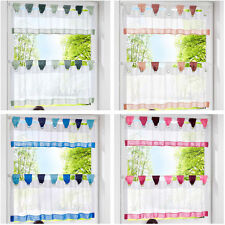 2pcs Home Cafe Door Dust Colorful Tulle Window Kitchen Curtain Set Valance Tier