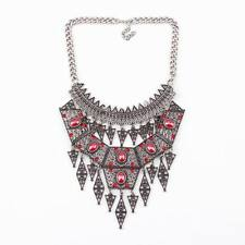 vintage alloy ethnic necklace chunky statement crystal pendant necklace women