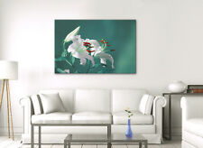 LARGE CANVAS WALL ART GREEN TEAL WHITE FLOWER ZEN PICTURE STUNNING NEW PRINT