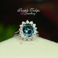 Size Adjustable 18K White Gold Plated Sapphire Flower Ring W/ SWAROVSKI Crystal