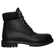 Timberland Men's 6 Inch Classic Boots Shoes Black Smooth Waterproof Leather