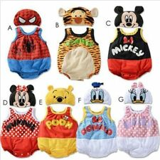 BABY BOYS GIRLS CARTOON COSTUME HAT SET SUMMER ROMPER OUTFIT CLOTHES SET