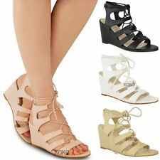 Womens Ladies Strappy Wedges Mid High Heel Sandals Lace Up Cut Out Shoes Size