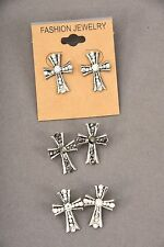 Cross Earrings Stud Antique W Rhinestones Fashion Gold or Silver Color