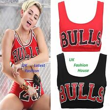 NEW WOMENS LADIES CELEBRITY INSPIRED BULLS PRINT CROP VEST SPORTS BRA TOP 8-14.