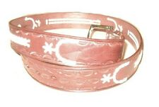 Solid Leather Belt Western Southwest Cowboy Braids Tooled Horseshoe Oil Tanned