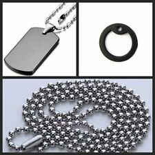 Army ID Dog Tag Pendant Necklace Military Chain Stainless Steel Black Silencers