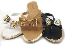 Womens Fashion Summer Beach Sandals Flip Flats Bow Shoes Comfort Casual Size6-10