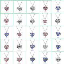 Fashion Necklace Letter Rhinestone Crystal Heart Pendant Chain Family Gift