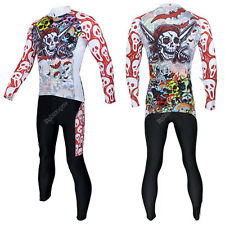 Pirate Men Long Sleeve Cycling Jersey+Pant Bike Bicycle Sport Apparel CT01