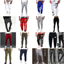 New Mens Casual Gym Tracksuit Bottoms Plain Jogging Trousers Joggers Sweat Pants