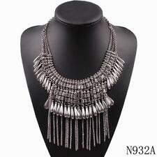 alloy chain tassel vintage chunky statement pendant necklace for women jewelry