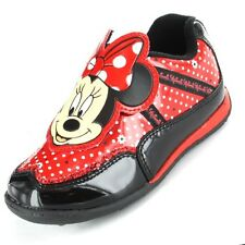 GIRLS QUALITY OFFICIAL DISNEY MINNIE MOUSE TRAINERS BLACK & RED SIZES 10-12 SALE